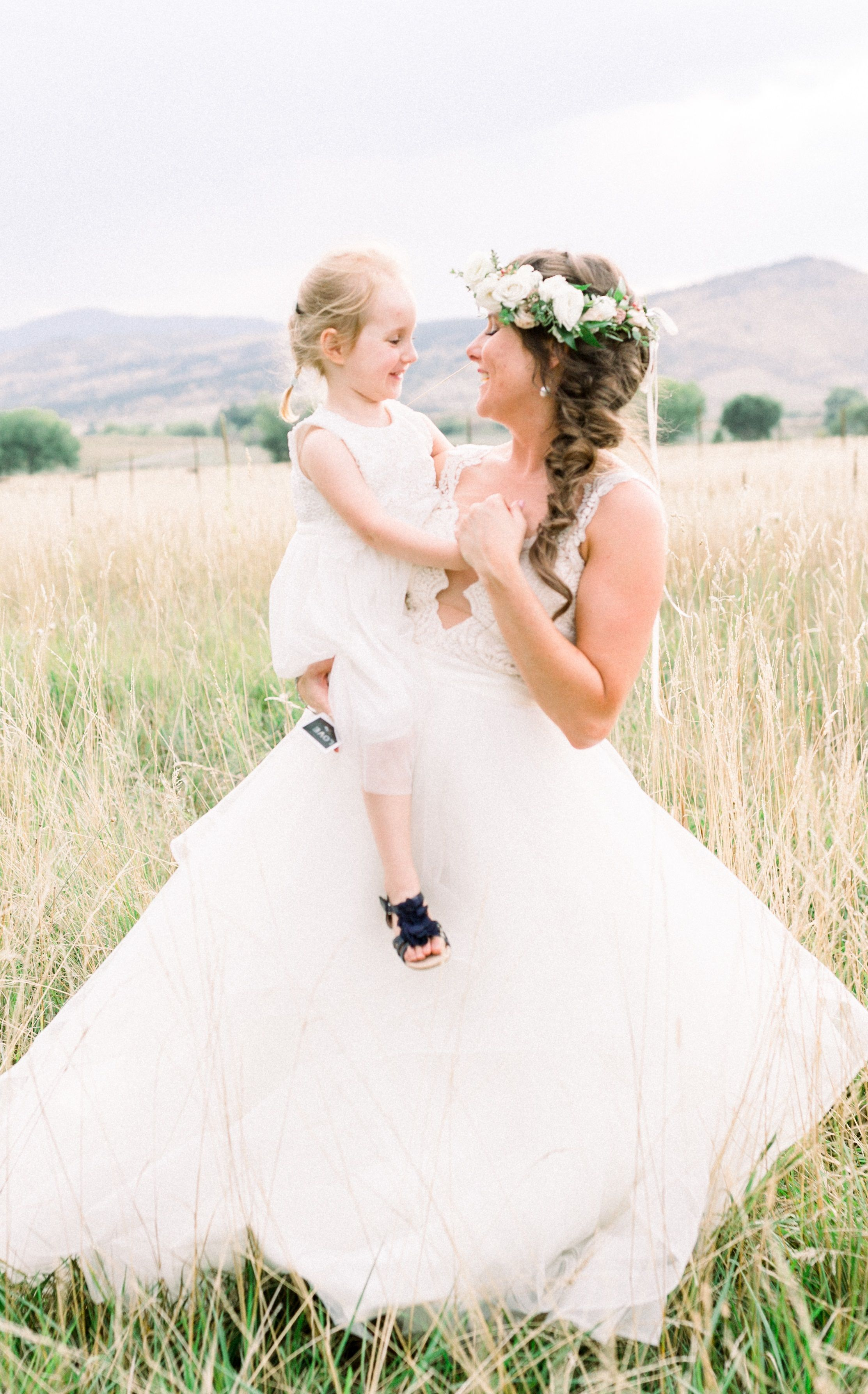 boho bride with a mermaid braid and flower crown in boulder