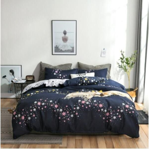 3d Quilt Cover Sets Black Background Pink Stars 4006 Bed Pillowcases Quilt Cover Set Bedding Set Pillowcases Duvet Cover King Single Double Queen King In 2021 Bedding Sets Bedding Set King Duvet Cover