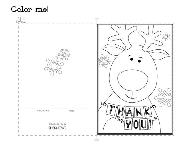 Thank You Coloring Cards Reindeer Holiday Thank You Card Free