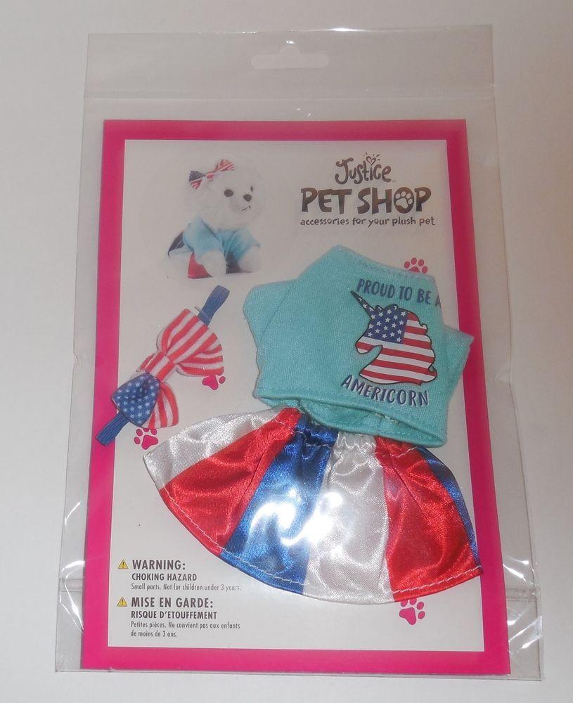 Justice Pet Shop Plush Pet Clothes Shirt Skirt Bow Red White Blue