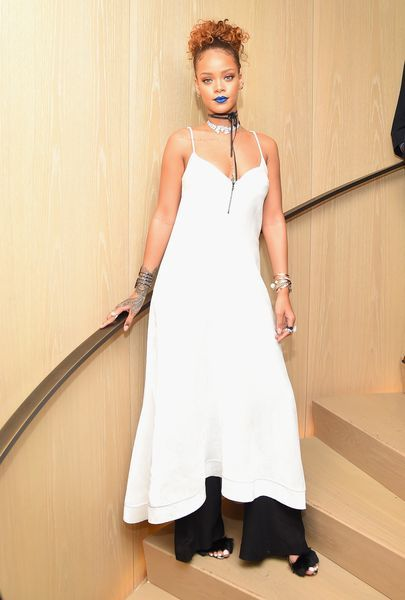 Rihanna at her Roc Nation NYFW Event // More celebrity looks from the party: (http://www.racked.com/2015/9/11/9310635/rihanna-nyfw-party#4830266)