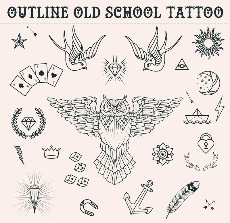 Old School Tattoo Set. Cartoon Tattoo Elements In Funny Style:anchor, Owl, Star, Heart, Diamonds, Scull, Swallow. Outline S Stock Illustration – Illustration of background, heart: 62816256
