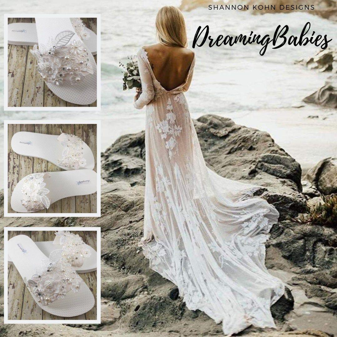 Lace Bridal Slides Off White Lace Bridal Sandals Beach Wedding