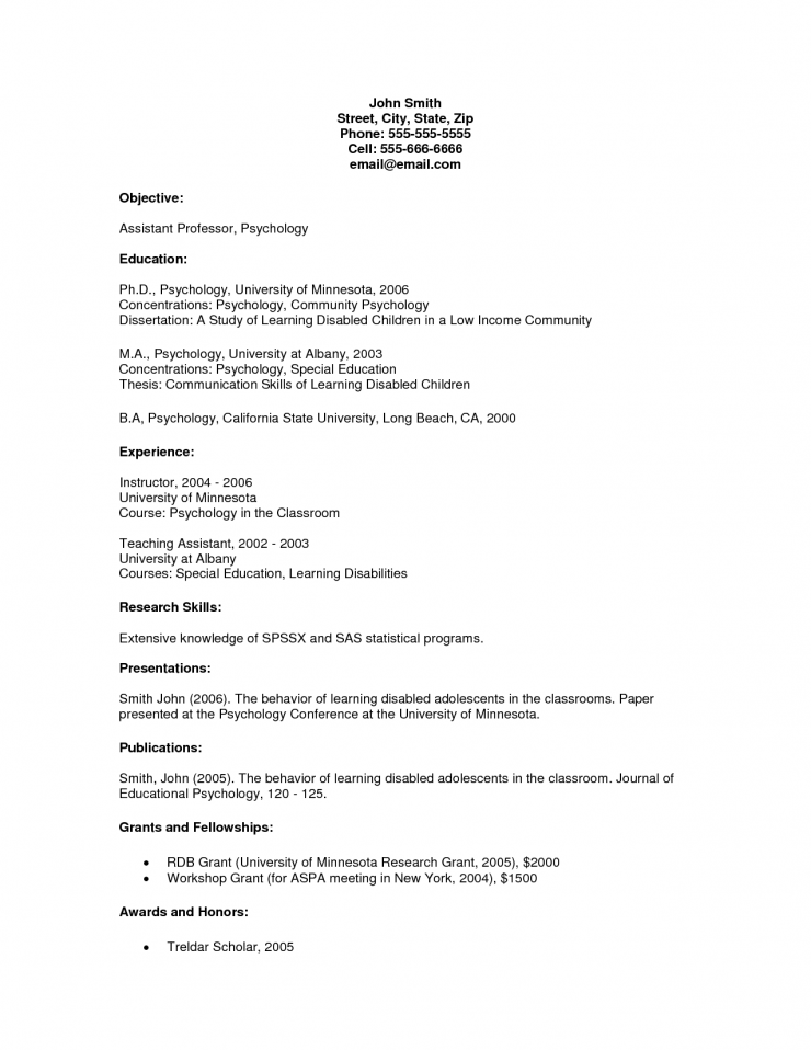 Cover Letter Academic Resume Examples For Objective With Education And  Experience By John Smith Academic Advisor