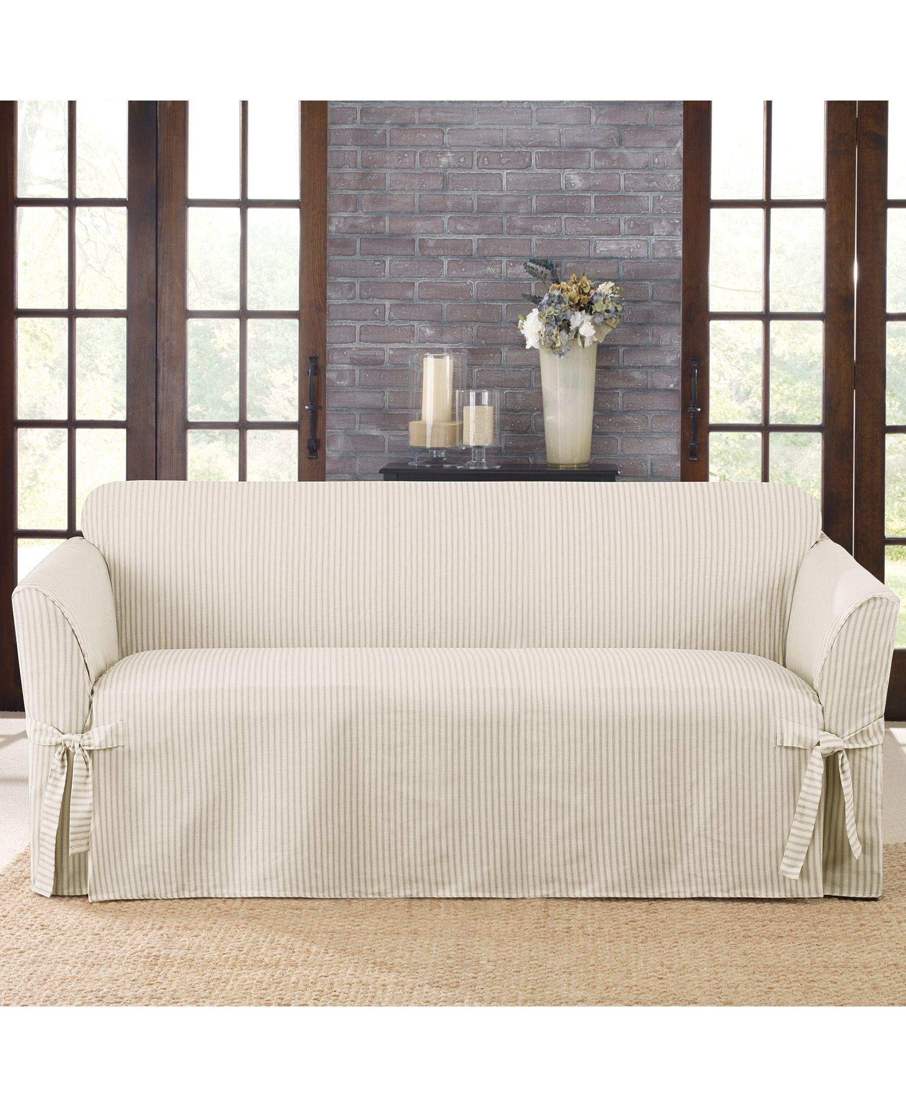 Sure Fit Ticking Stripe Sofa Slipcover Cushions On Sofa Slipcovered Sofa Slipcovers For Chairs