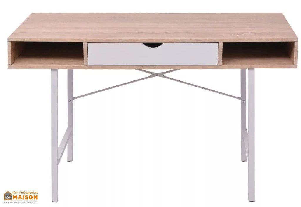 Bureau en bois blanc et naturel avec tiroir et pied en métal