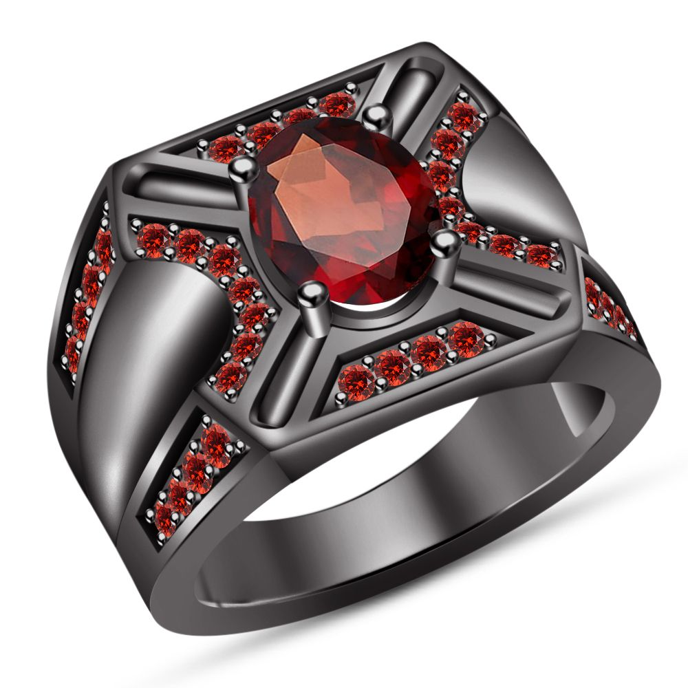 Mens Diamond /& Garnet Ring Sterling Silver or Yellow Gold Plated or Sterling Silver or Yellow Gold Plated