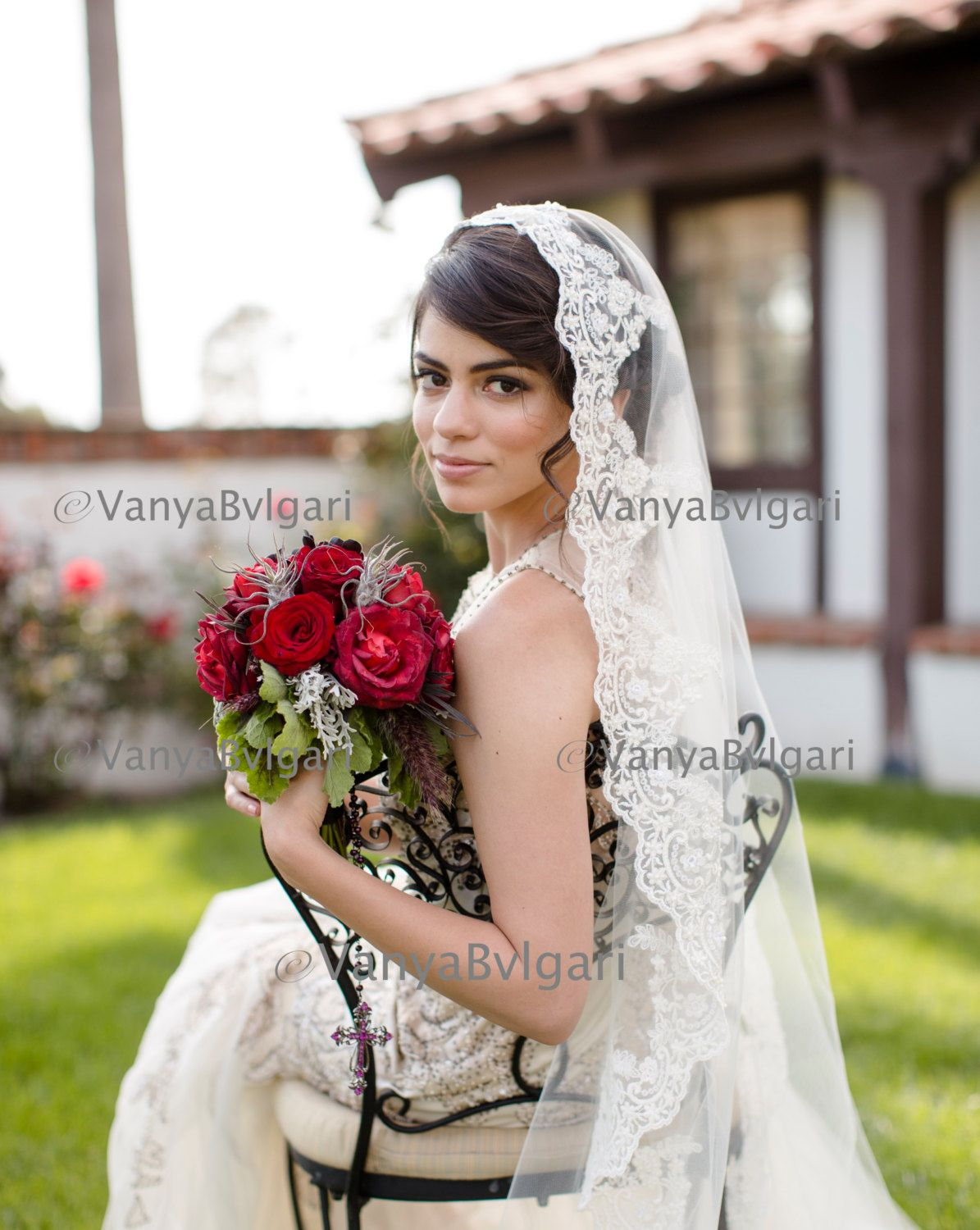 Lace veil Mantilla with Classic Spanish look with Beaded lace edge ...