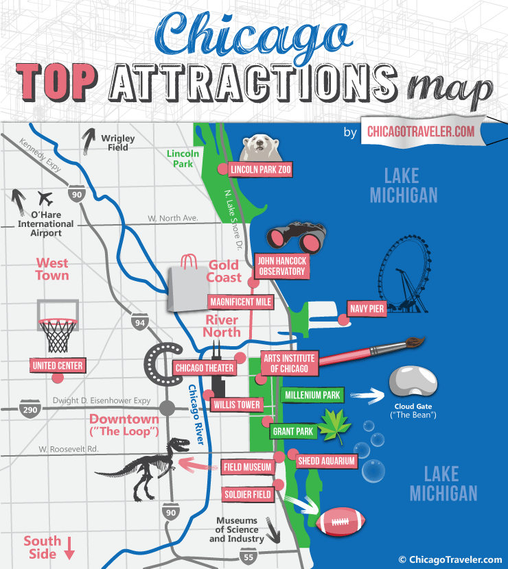 Chicago Miracle Mile Ping Map Printable Tourist For Top Attractions