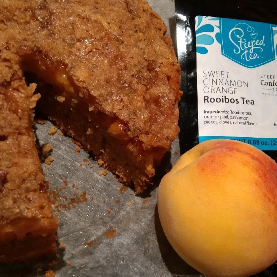Susan Gimbel-Lockett has baked up a delicious looking Peach Struesel Cake! She's made it with Sweet Cinnamon Orange Rooibos Tea. YUM!