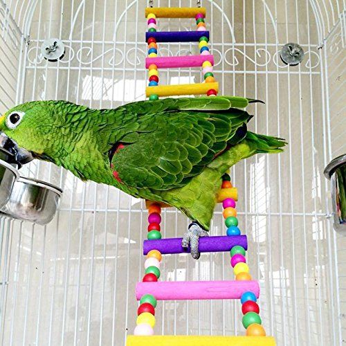 Parrot Climbing Ladder Wooden Swing Bridge Bird Cage Hanging Toy Conures