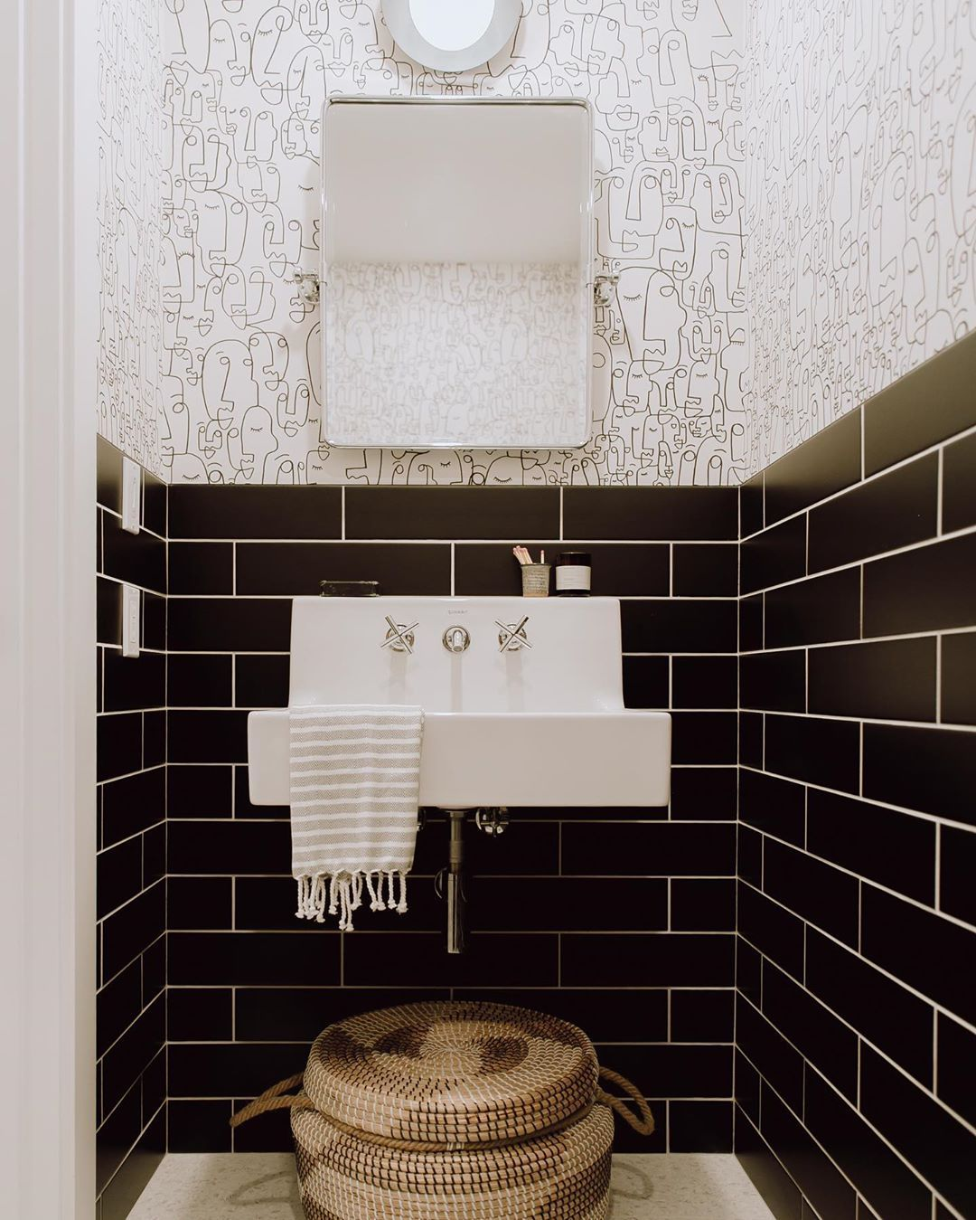 You Guys I M So Incredibly Humbled And Excited To Have This Little Powder Room Project Of Mine In Black Subway Tiles Diy Bathroom Decor Modern Master Bathroom