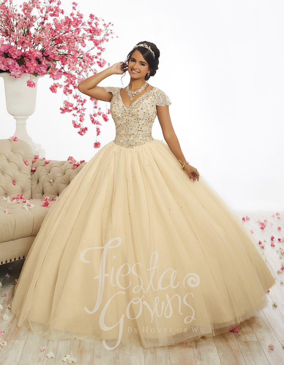 6e593a96fe8d Beaded Cap Sleeve Quinceanera Dress by Fiesta Gowns 56335 in 2019 ...