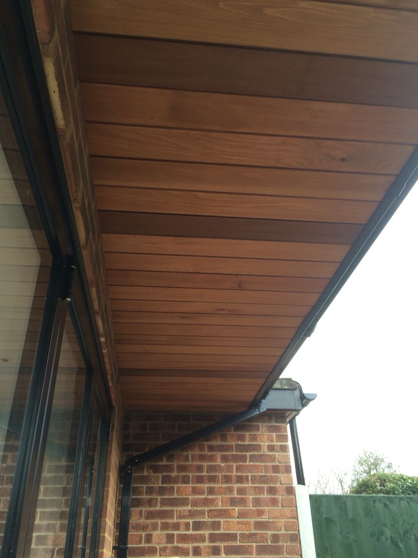Love This European Cedar Soffit Overhang With Black Bifolds And Fascias Roof Soffits Wood Cladding Exterior Wooden Cladding Exterior
