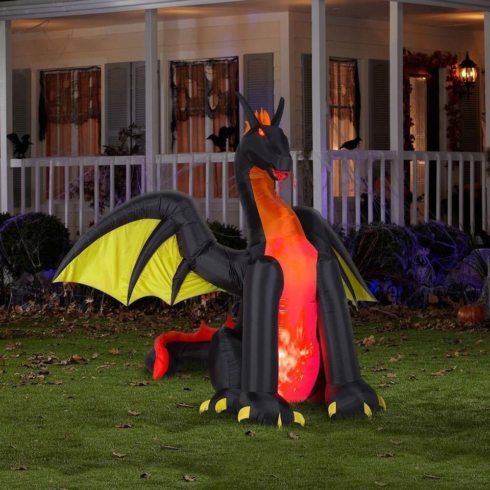 Black Dragon Fire And Ice Animated Halloween Inflatable New