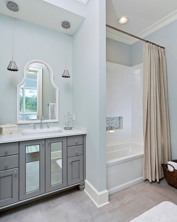 I Like The Mix Of Pale Blue Gray And Tan In This Bathroom It S Soothing