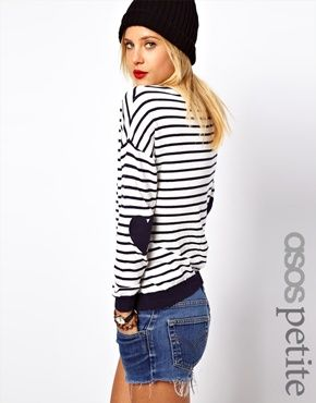 Image 1 ofASOS PETITE Jumper In Stripe With Heart Elbow Patch