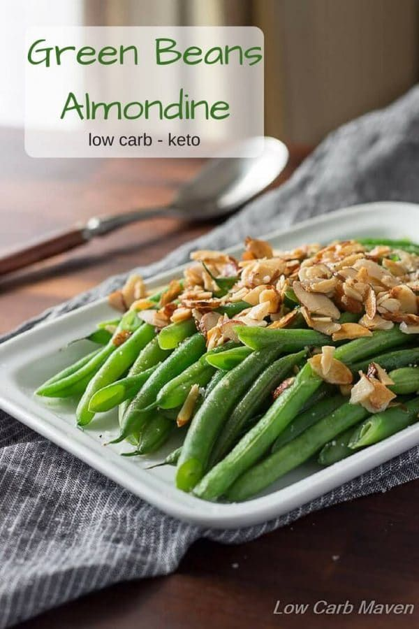 Green beans Almondine on white plate with sliced almonds ...