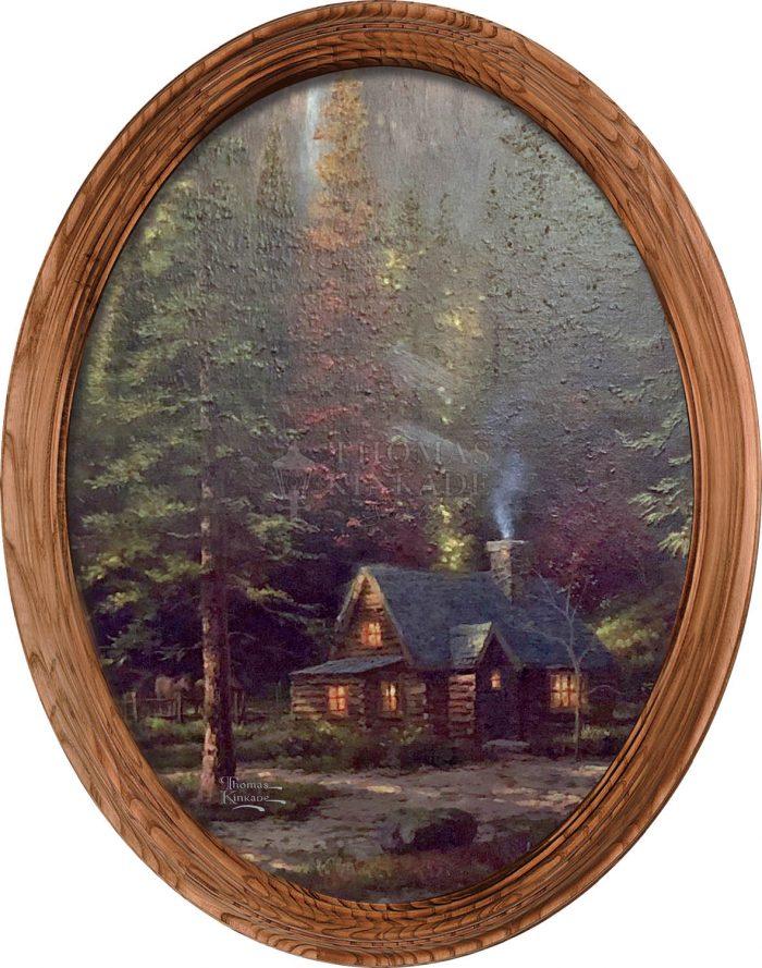 Mountain Majesty Cabin 16 X 12 Framed Canvas Oval Thomas Kinkade Studios Canvas Frame Popular Paintings Texture Art