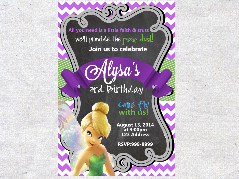 Tinkerbell Birthday Invitation Invite Chalkboard Chevron Pattern