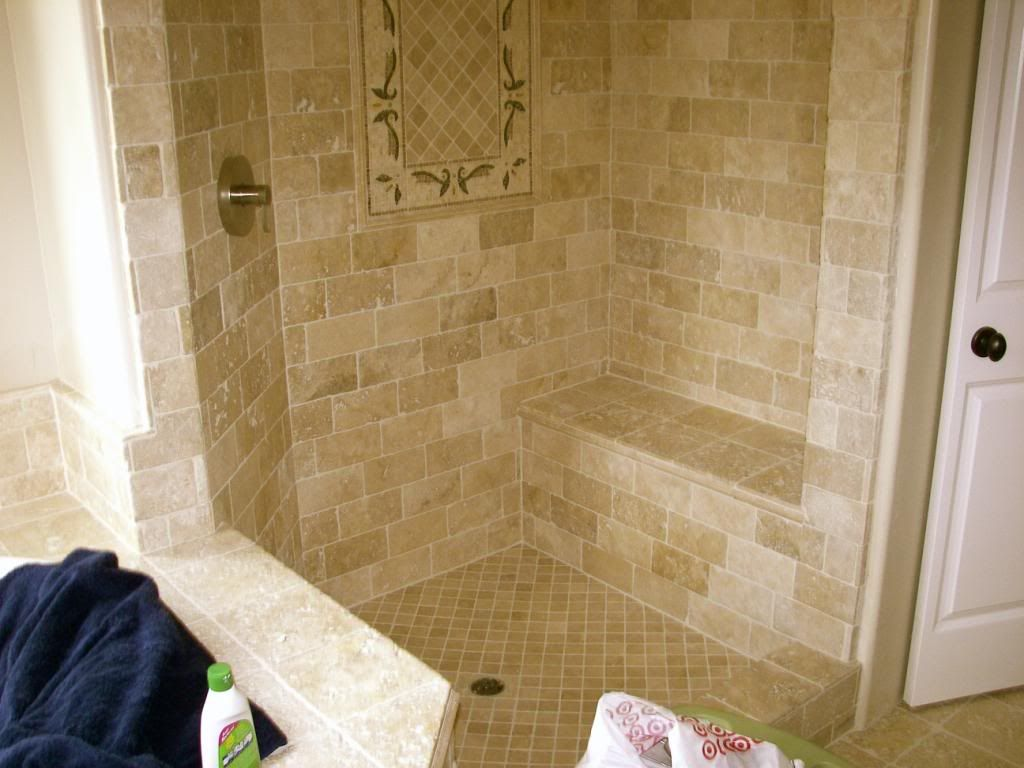 Brick Set Travertine Shower Photo This Photo Was Uploaded