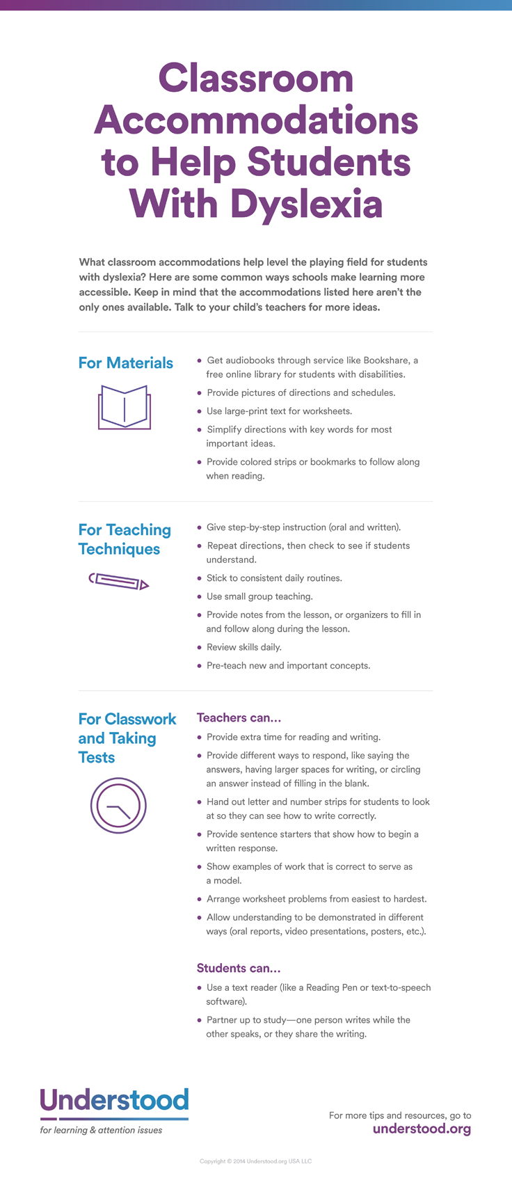 Dyslexia Symptoms Causes And Treatment Understood Org >> At A Glance Classroom Accommodations For Dyslexia