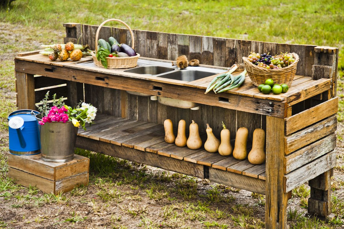 Recycled Wood Garden Harvest Table Sink Tiny Home Garden