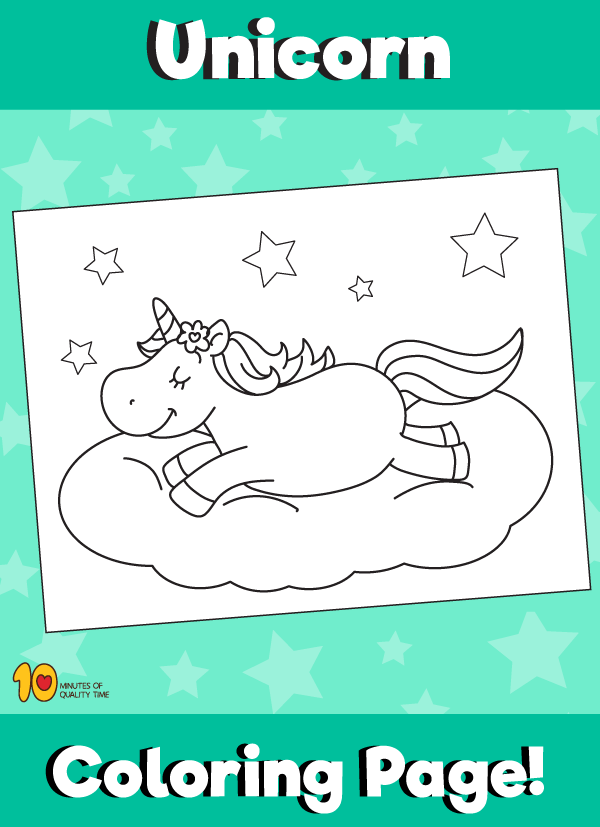 Unicorn on Cloud Coloring Page | Simple and fun activities for kids ...