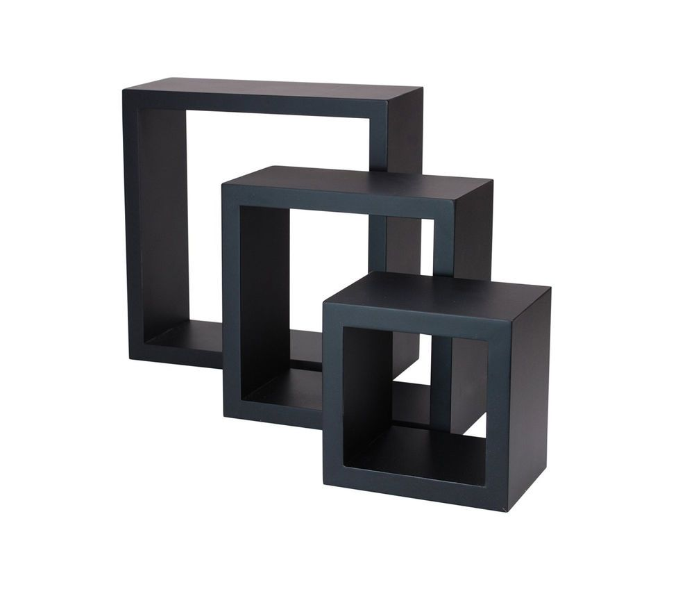 Cube Wall Shelves Black Floating Shelf Box Display Wood Decor Set Of 3 Storage Nexxt C Floating Wall Shelves Black Floating Shelves Floating Shelves Bathroom