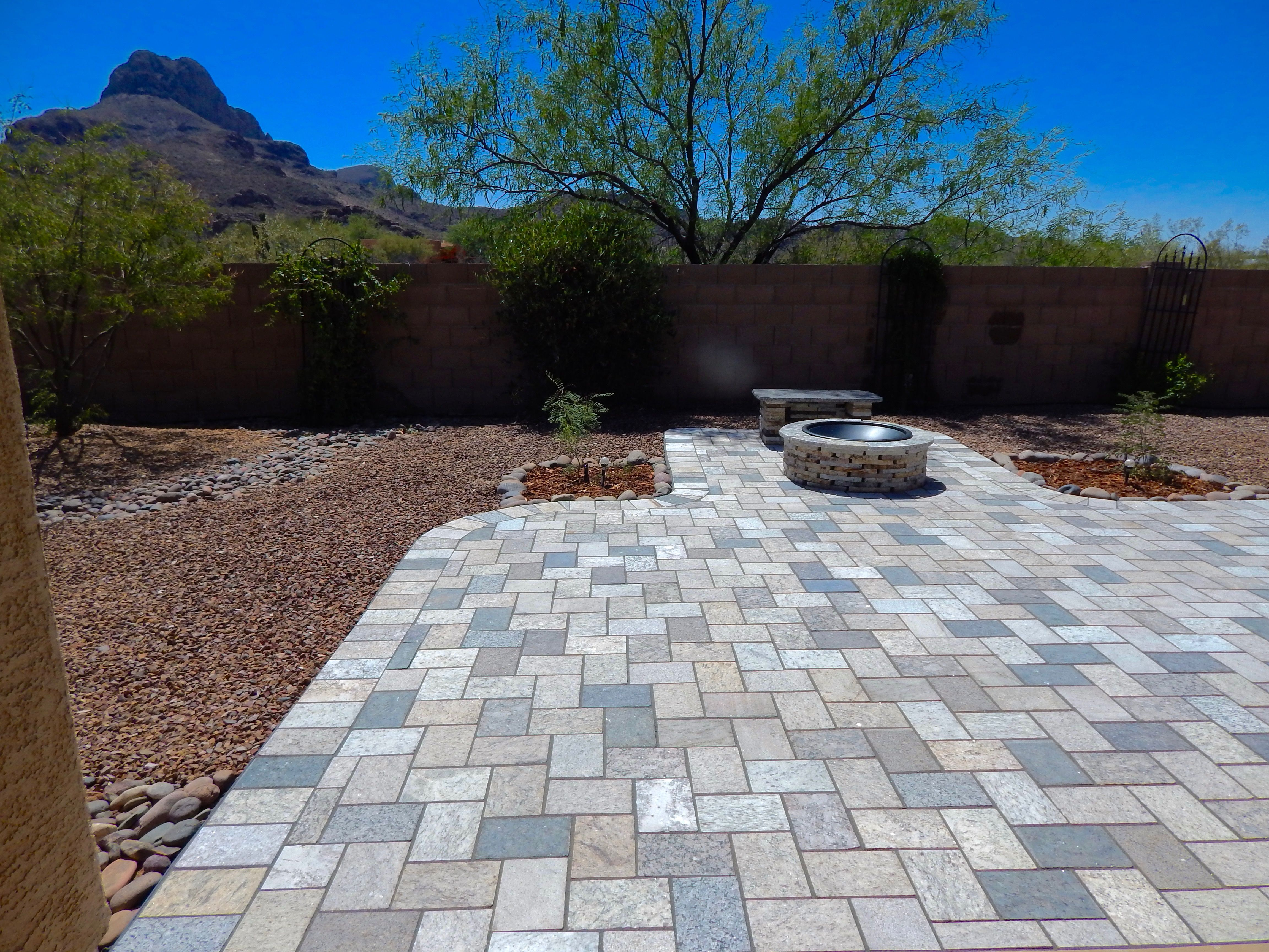 Earth Blend Paver Patio, The Spark Fire Pit And Granite