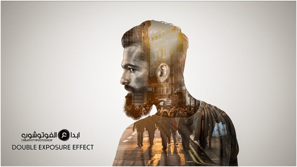شرح عمل الدبل اكسبوشر بالفوتوشوب Double Exposure Effect Lion Sculpture Photoshop Tutorial Double Exposure