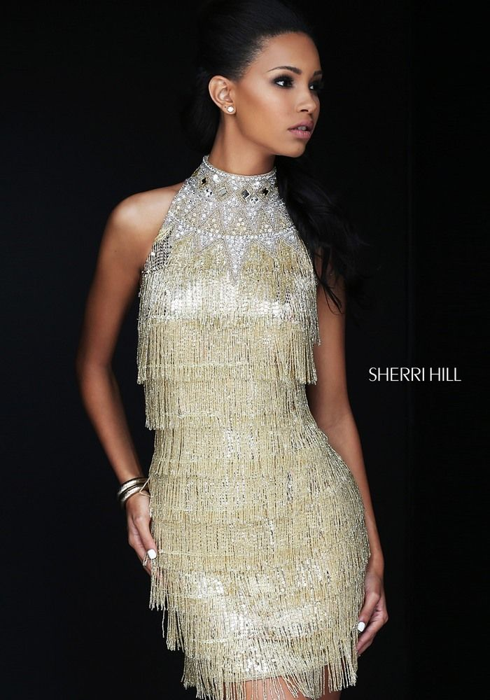 7370ebd2547 Fall 2016   Sherri Hill Fashion   Silver   Gold Fringe.