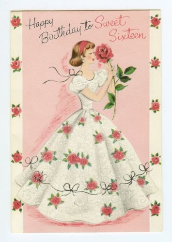 Vtg 1950s Birthday Norcross Greeting Card Sweet Sixteen Girl Glitter