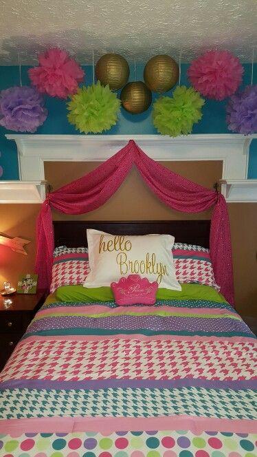 girl's bedroom teal pink  gold polkadot princess