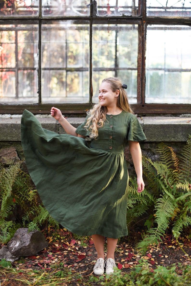Linen Dress, Midi Dress, Fit and Flare Dress, Wedding Guest Dress, Elegant Dress, Prairie Dress, Green Bridesmaid Dress -   17 dress Green vintage ideas