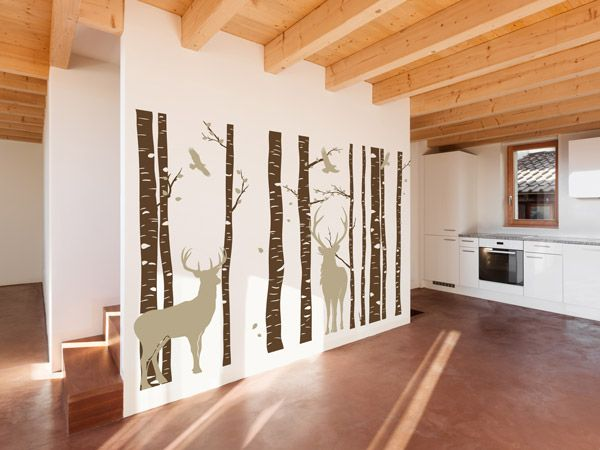 Sch ne alpen deko mit wandtattoos hirsche berge und tannen wohntrend in 2019 alpen - Alpen dekoration ...