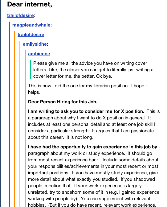 Cover Letters According To Tumblr  College Life Hacks