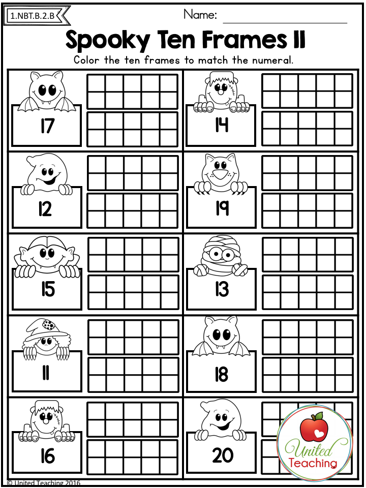 Counting To 20 With Ten Frames Fun Spooky Theme For Halloween Kids Math Worksheets Halloween Math Worksheets Kindergarten Math Counting