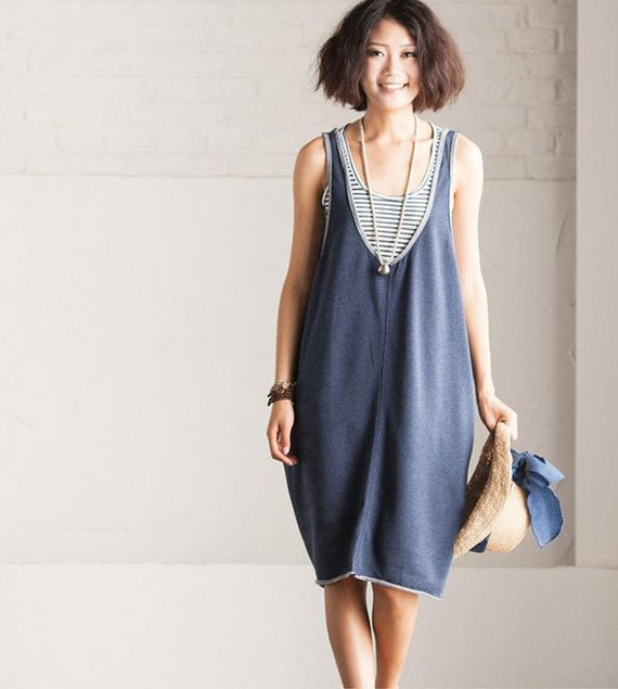 Blue Loose sleeveless U collar  Lovely Vest Dress by clothingshow