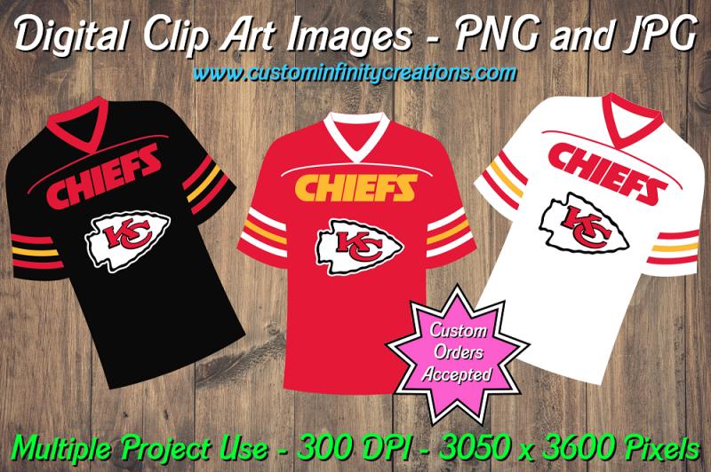 Kansas City Chiefs Football Team Jerseys Digital Clip Art
