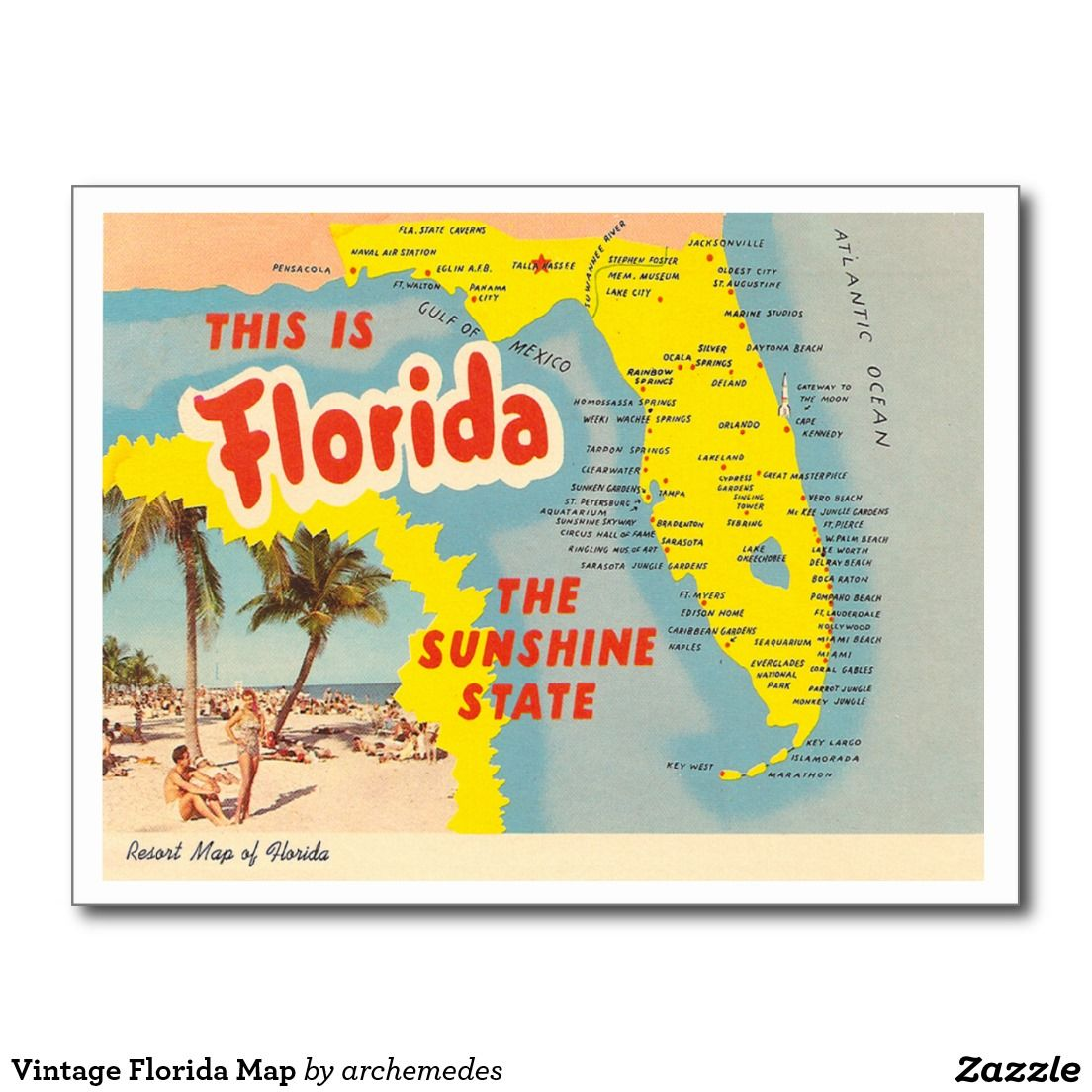 Where All My Stories Take Place Map Of Florida Vintage Florida Postcard