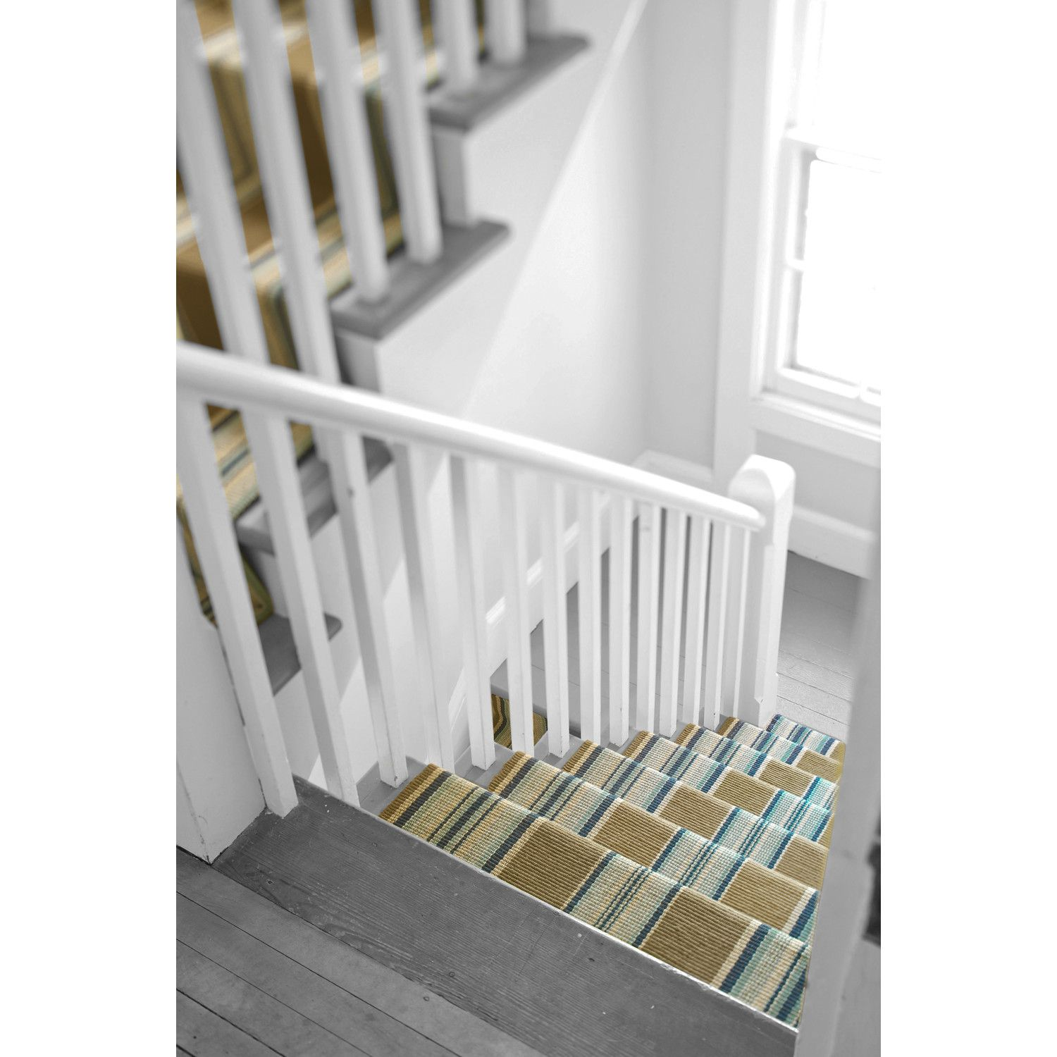 Best Flat Woven Blue Area Rug Striped Stair Runner Hallway 640 x 480
