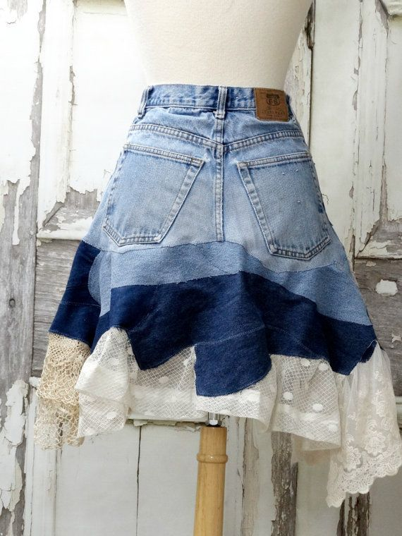 $110.99 USD Lacy Jean Skirt Upcycled ClothingArtsy Jean by CuriousOrangeCat