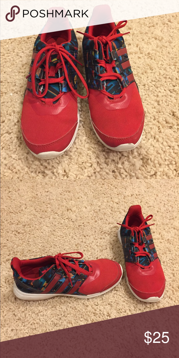 Red adidas girls size 4 eco ortholite Only worn three times, size 4 Great adidas  Shoes Sneakers