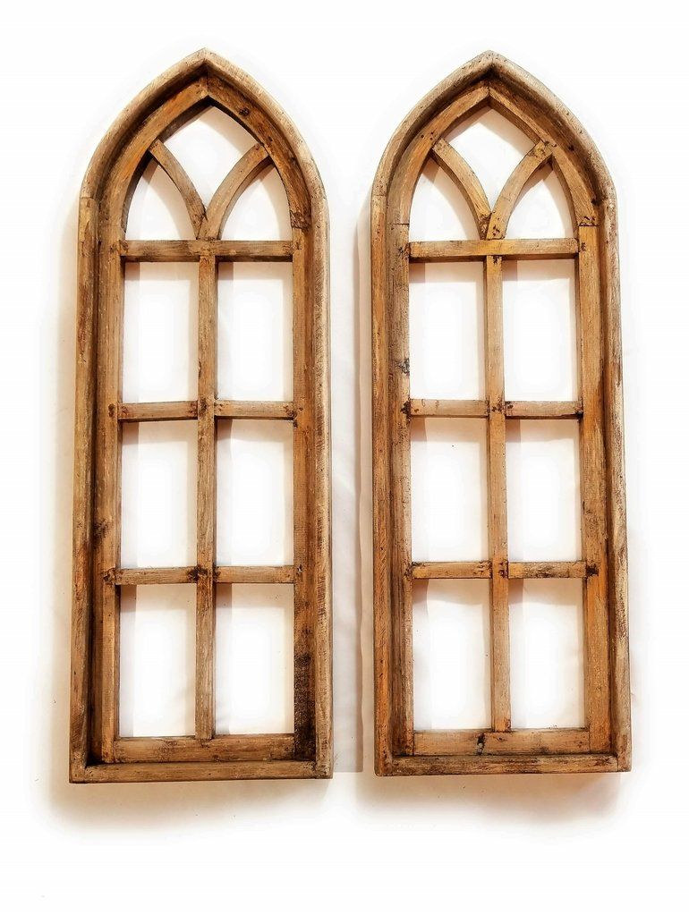 Farmhouse Wooden Wall Window Arches Set Of 2 Rustic Cathedral Wood Window Pine Woods Arched Wall Decor Frame Wall Decor Frames On Wall