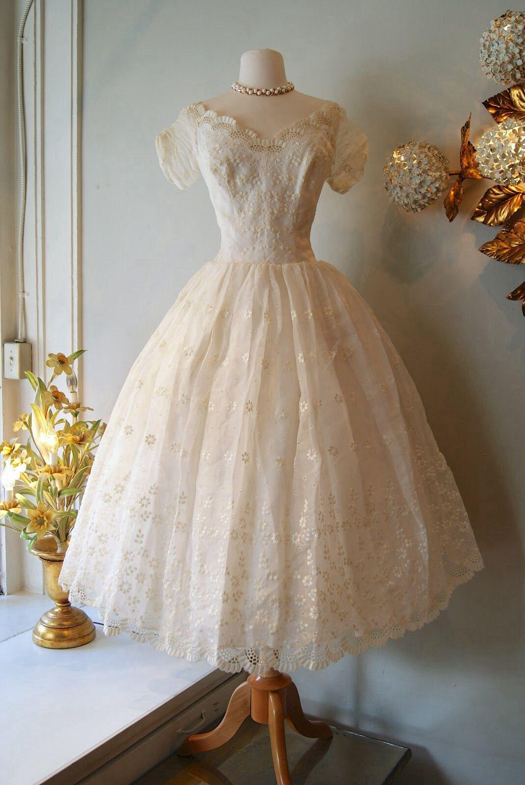 Vintage Dresses, Tea length wedding dress, Vintage dresses