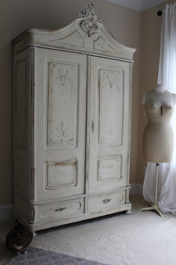 Armoire Painted With Annie Sloan Old White Chalk Paint   Blue Egg Brown Nest
