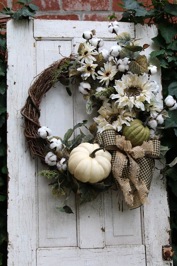 Fall wreaths for Front Door with Pumpkins & Sunflowers, Cotton Fall Farmhouse wreath, Autumn Front Door wreath, Rustic Country Harvest Decor
