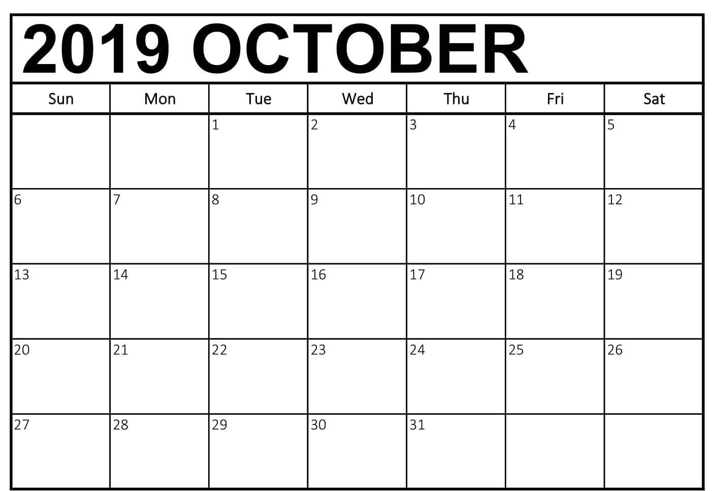 Free October 2019 Calendar Printable Templates Download Calendar