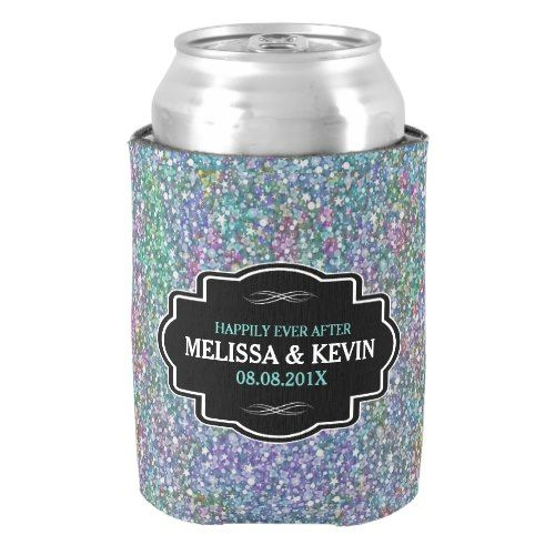 Colorful Glitter texture Black Frame Accent Can Cooler